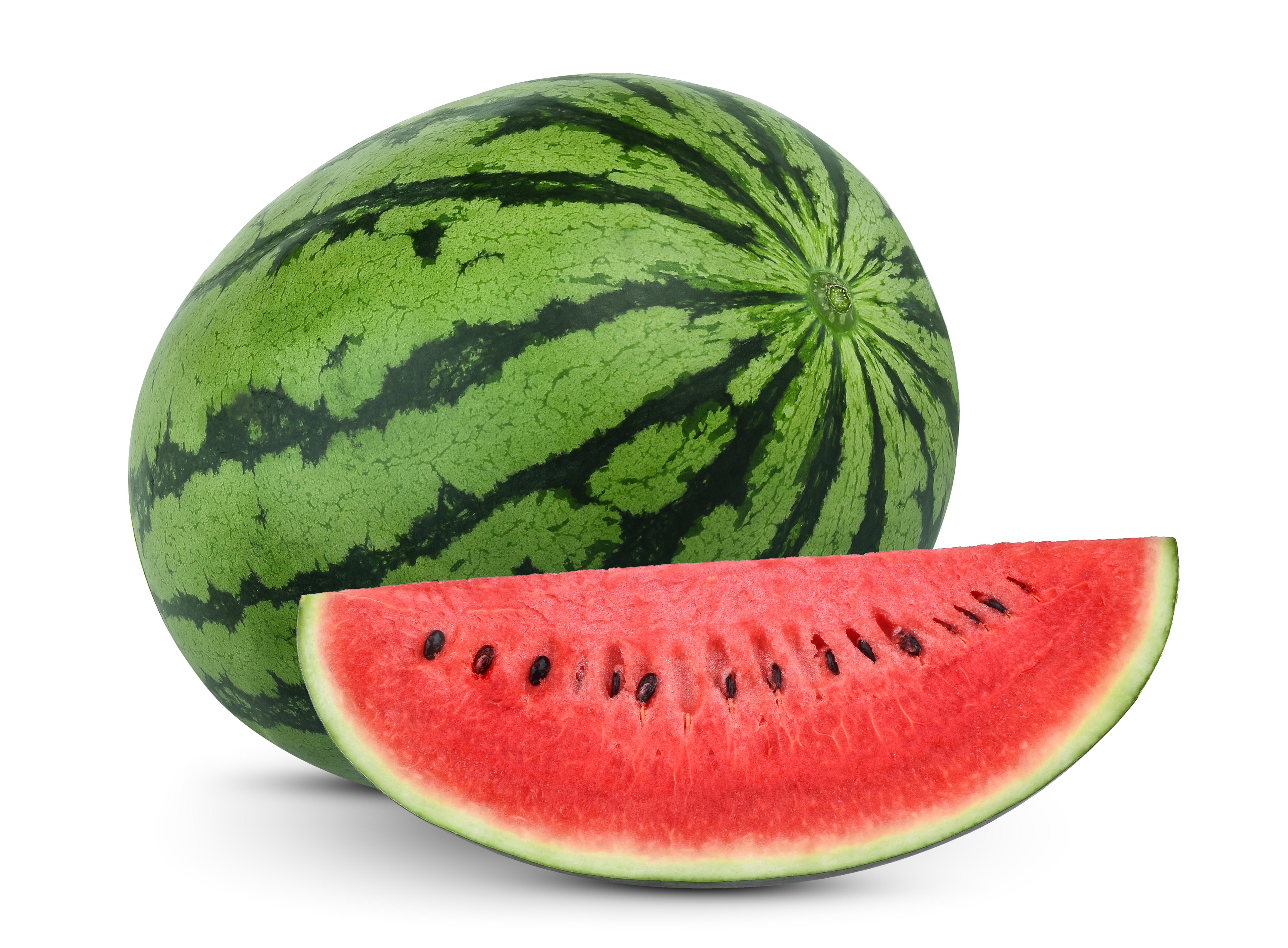 Bio-Wassermelone, ganze Frucht und aufgeschnitten mit rotem Fruchtfleisch