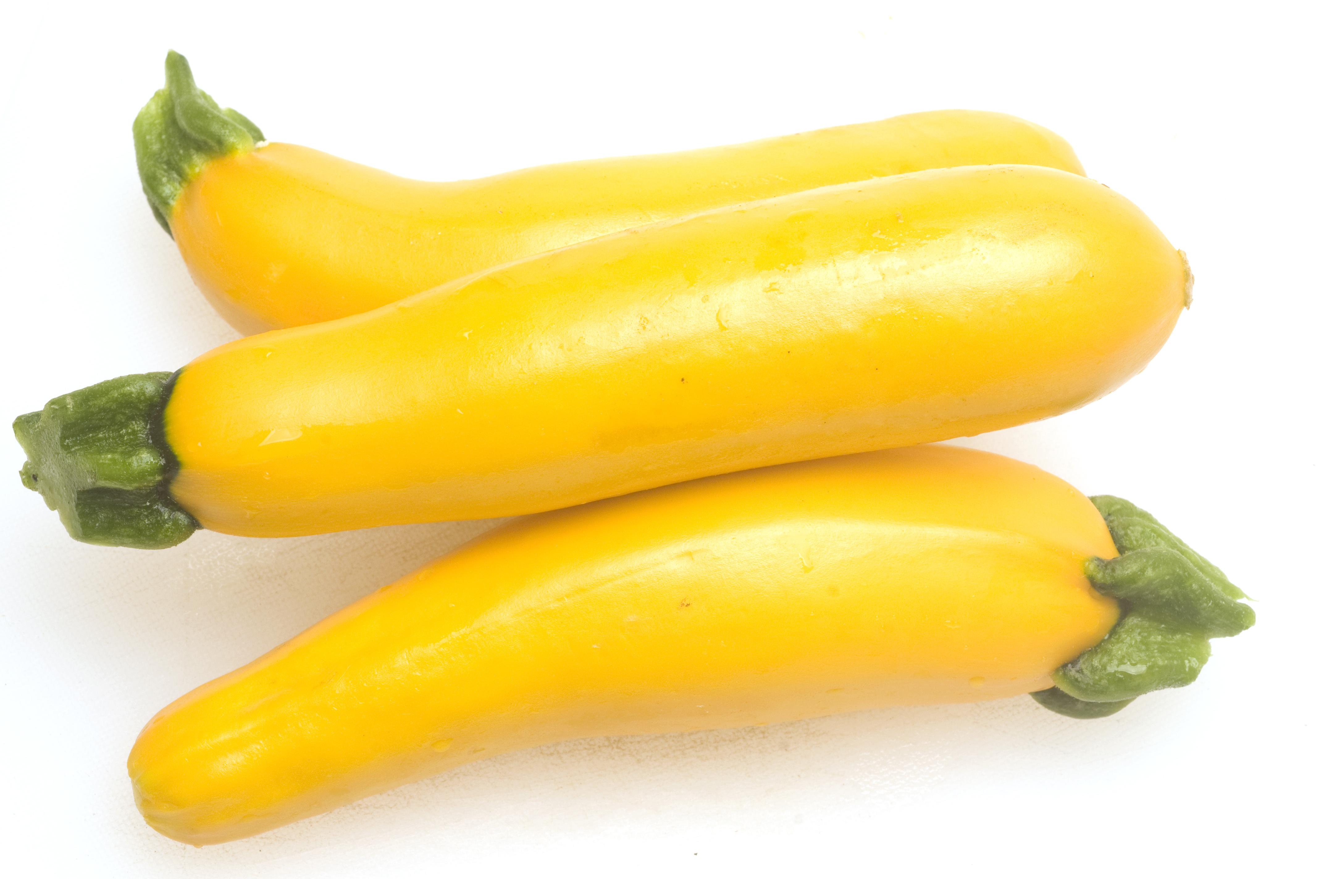 Goldgelbe Bio-Zucchini der Sorte 'Gold Rush' liegen nebeneinander