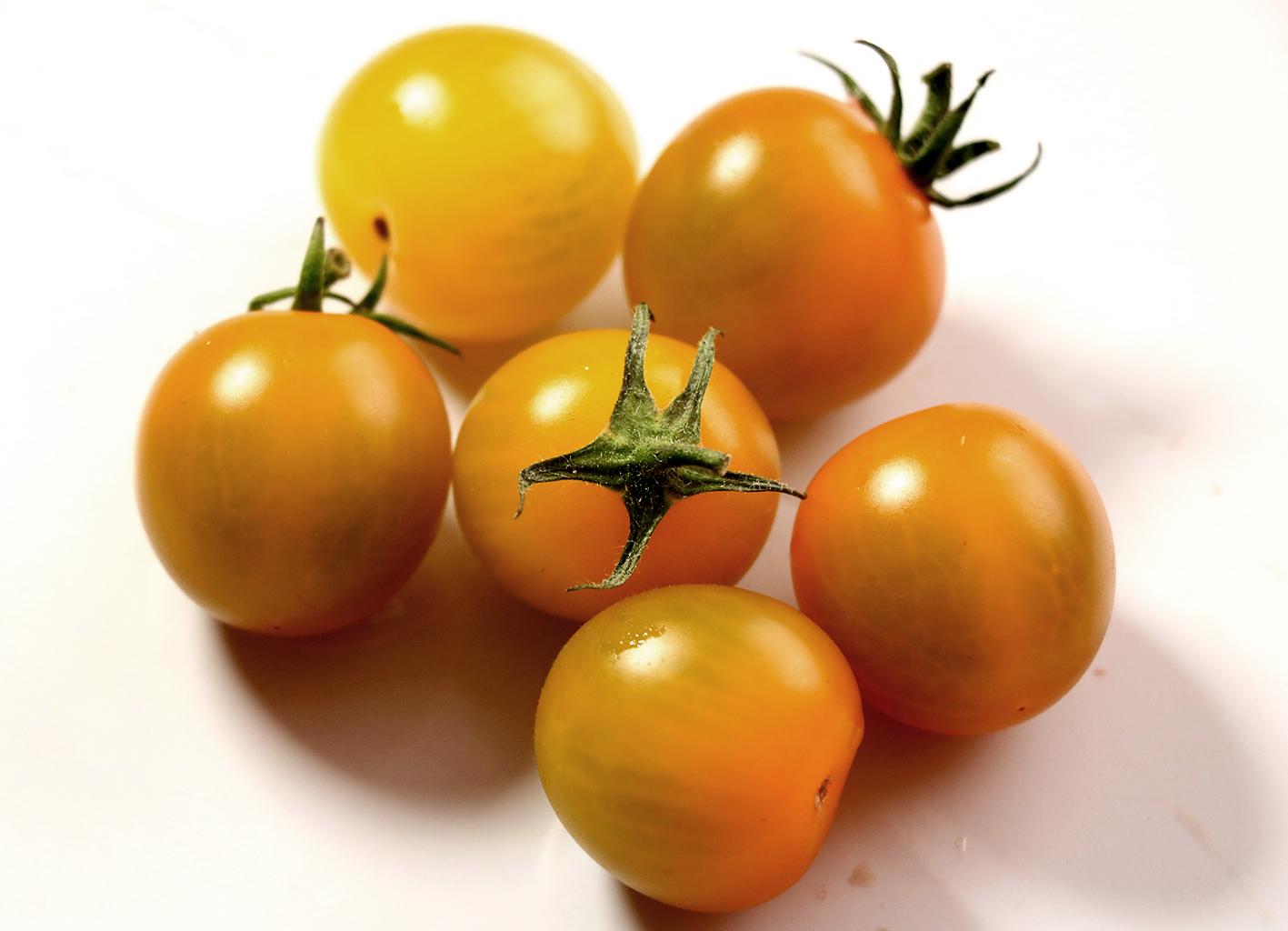 Kleine, goldgelbe Cherrytomaten der Bio-Sorte 'Goldiana' liegen nebeneinander
