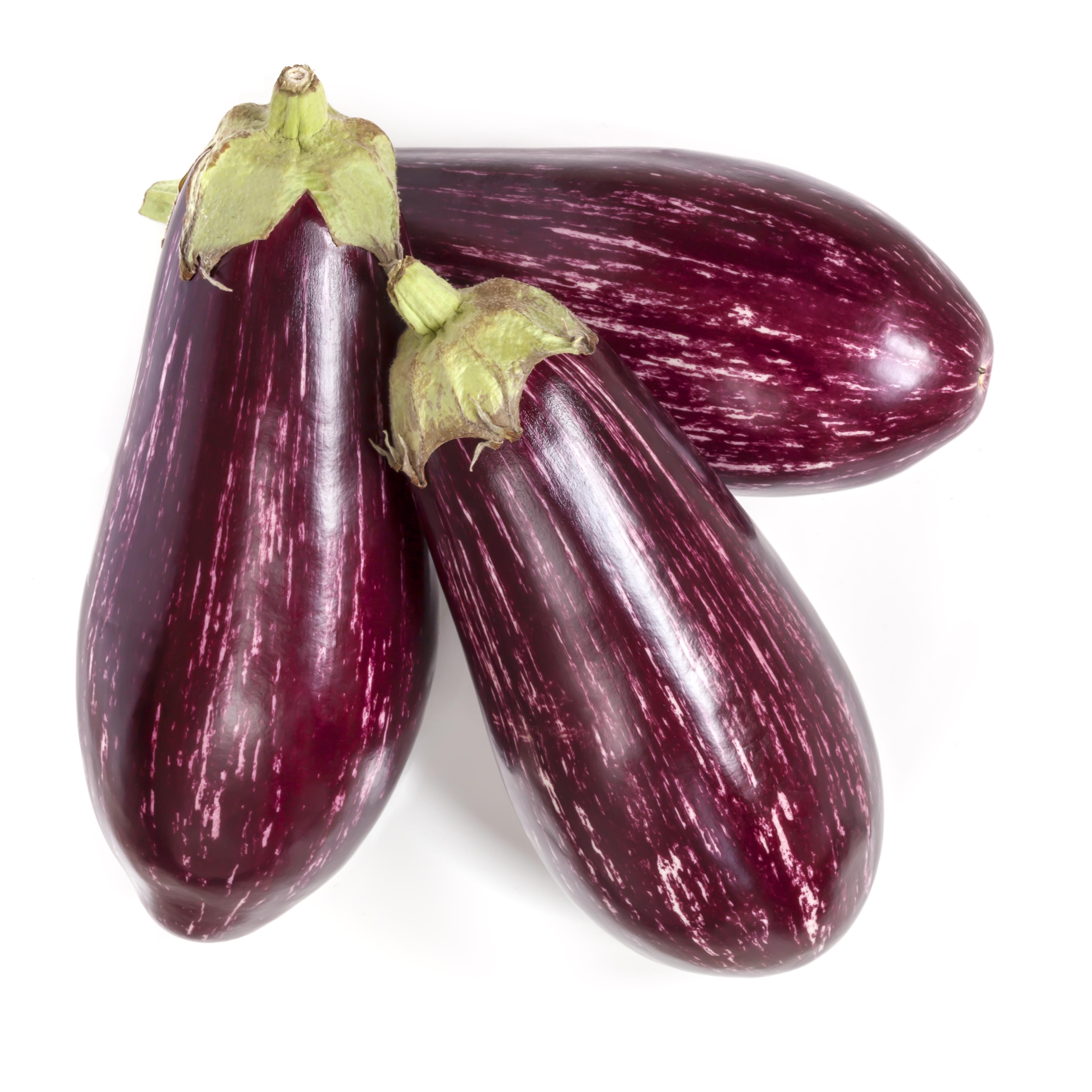 Glänzende violett-weiß-gestreifte Bio-Auberginen der Sorte 'Angela'